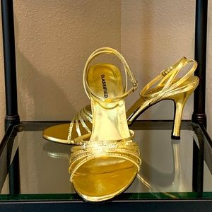 Classified High Heeled Gold Sandals